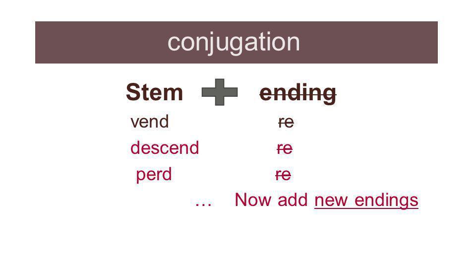 conjugation Stem ending vend re descend re perd re … Now add new endings