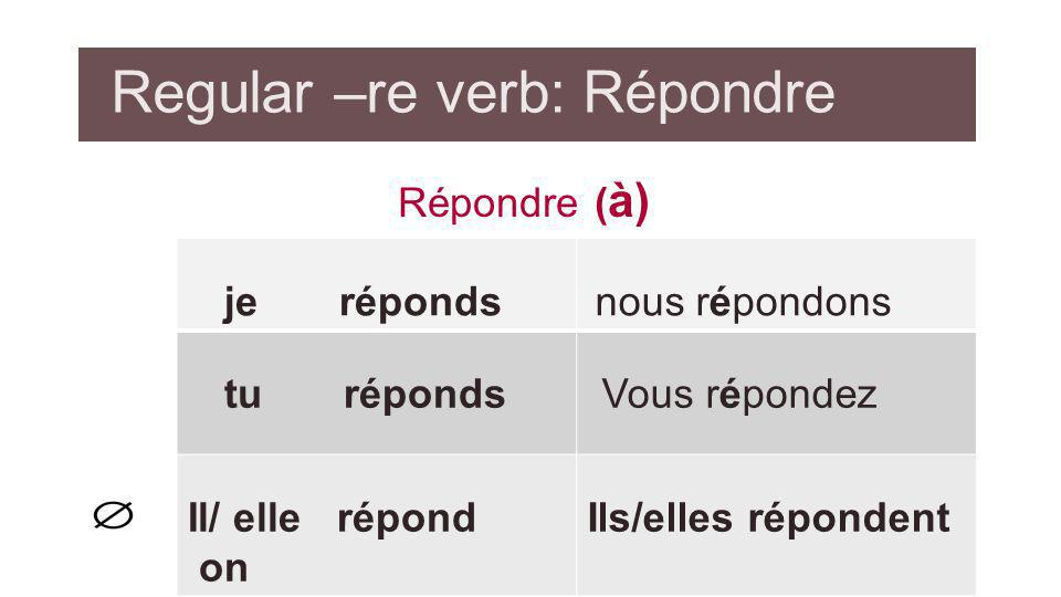 Regular –re verb: Répondre