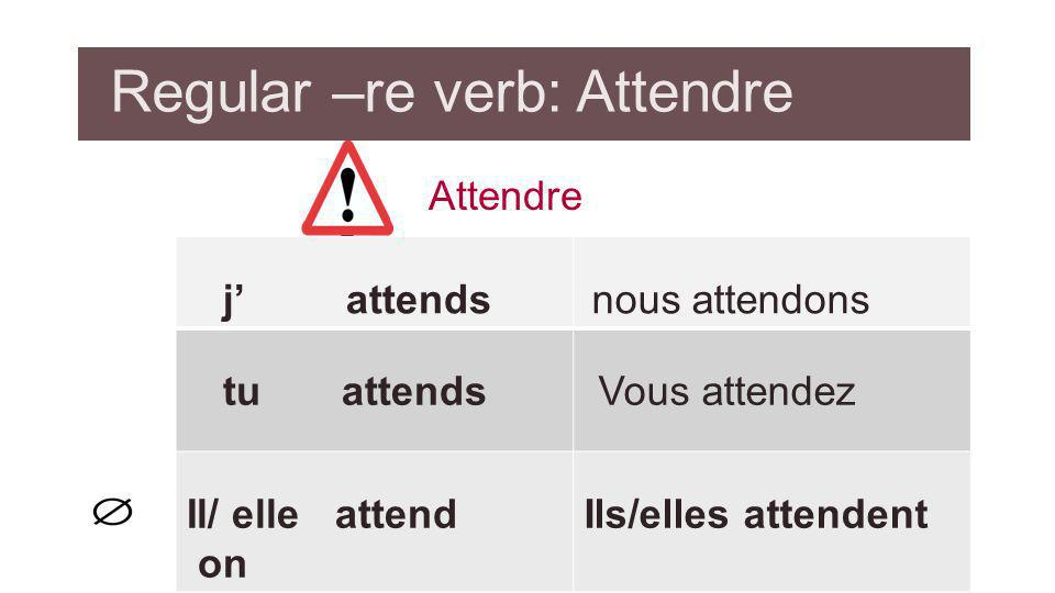 Regular –re verb: Attendre