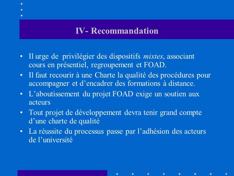 IV- Recommandation Il urge de privilégier des dispositifs mixtes, associant cours en présentiel, regroupement et FOAD.