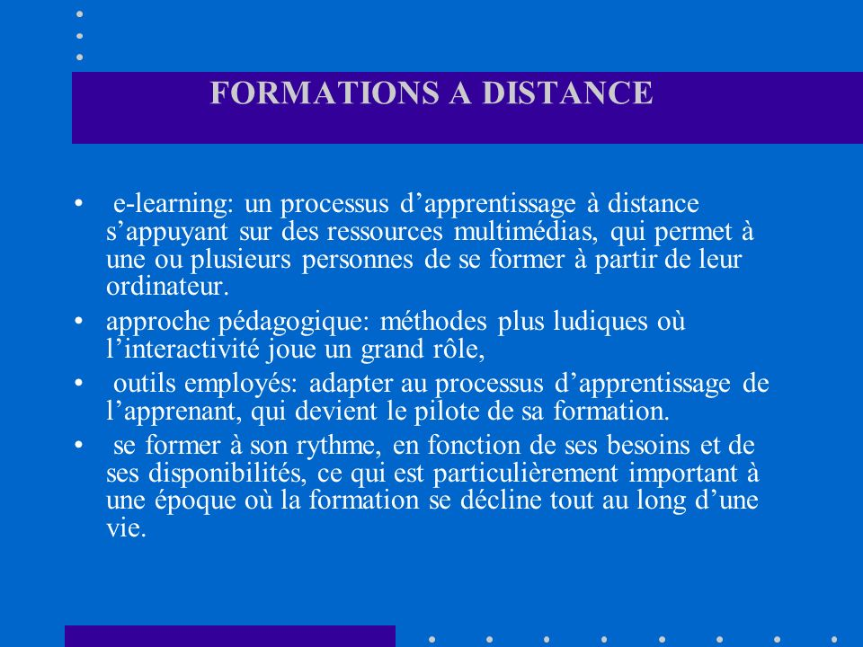 FORMATIONS A DISTANCE