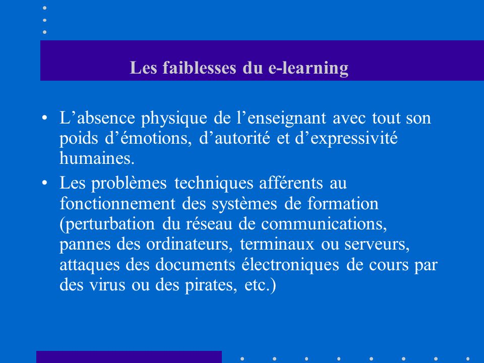Les faiblesses du e-learning