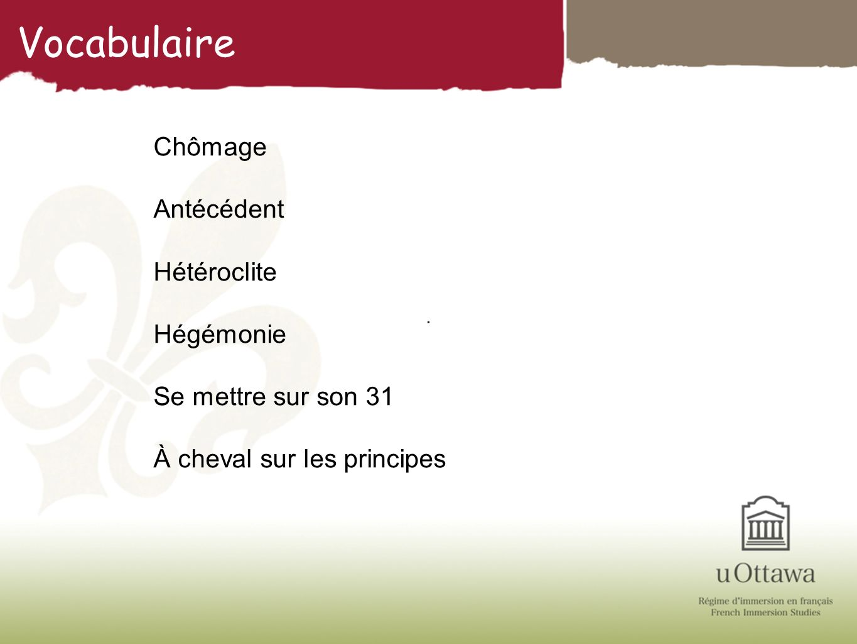 Vocabulaire Chômage Antécédent Hétéroclite Hégémonie