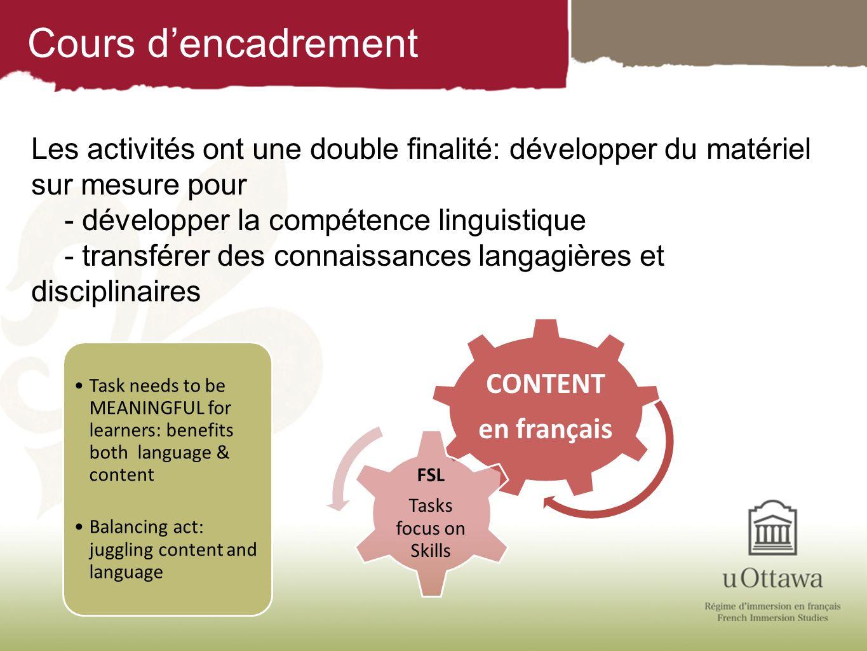 Cours d'encadrement Les activités ont une double finalité: développer du matériel sur mesure pour. - développer la compétence linguistique.