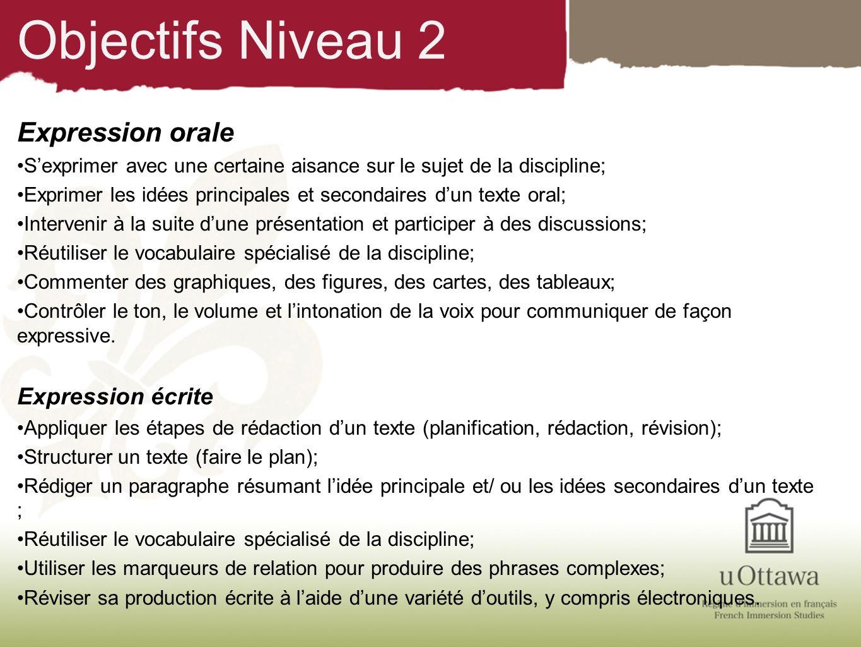 Objectifs Niveau 2 Expression orale Expression écrite