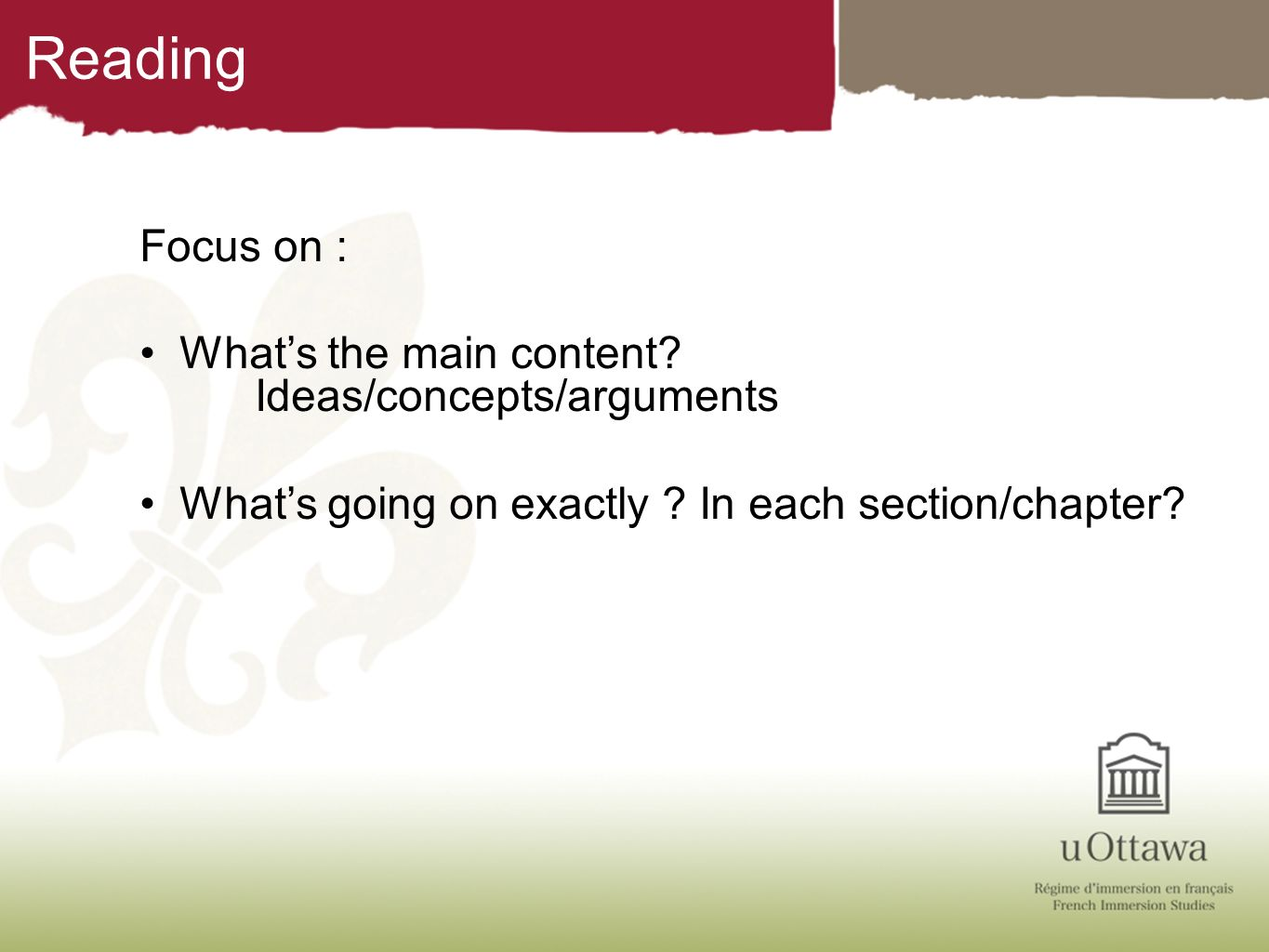 Reading Focus on : What's the main content Ideas/concepts/arguments