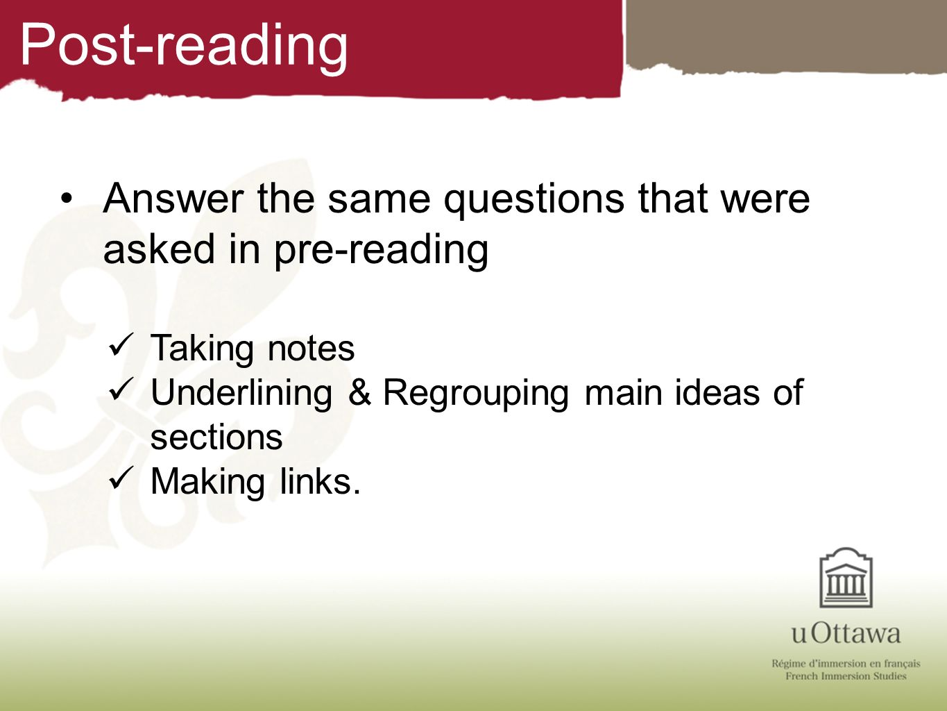 Post-reading Answer the same questions that were asked in pre-reading