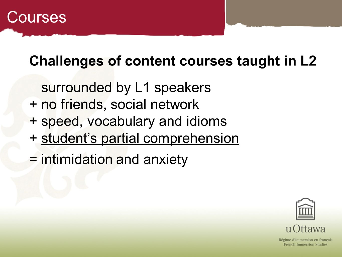 Courses Challenges of content courses taught in L2