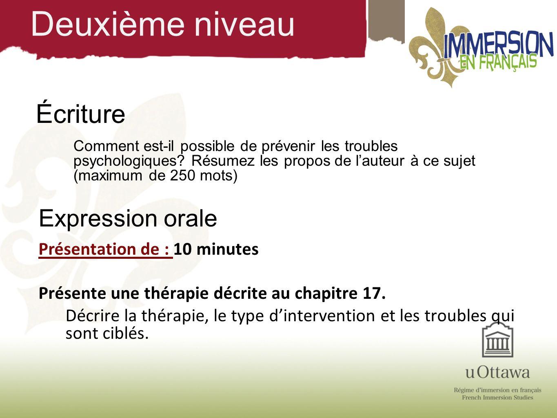 Deuxième niveau Écriture Expression orale Présentation de : 10 minutes