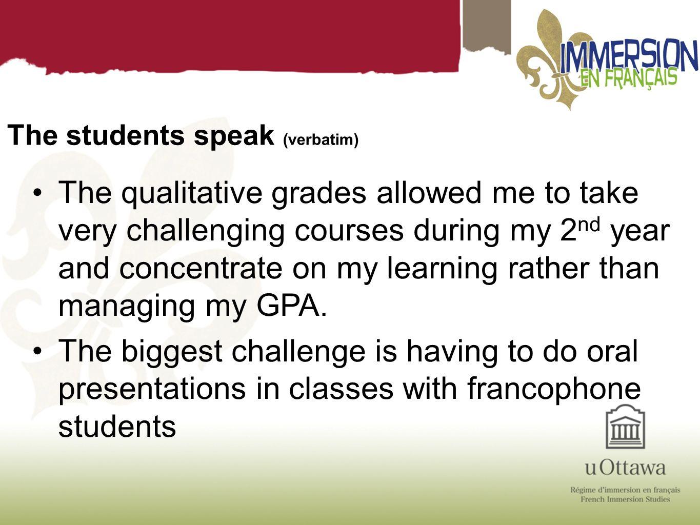 The students speak (verbatim)