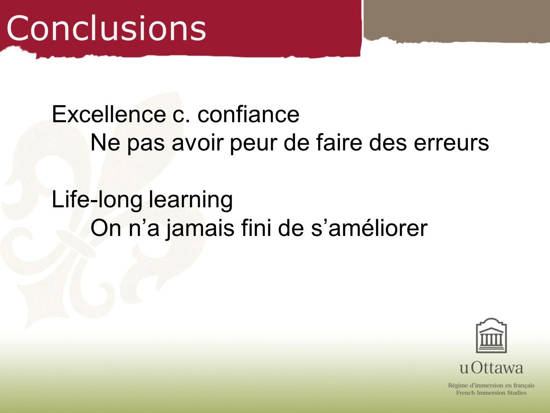 Conclusions Excellence c. confiance