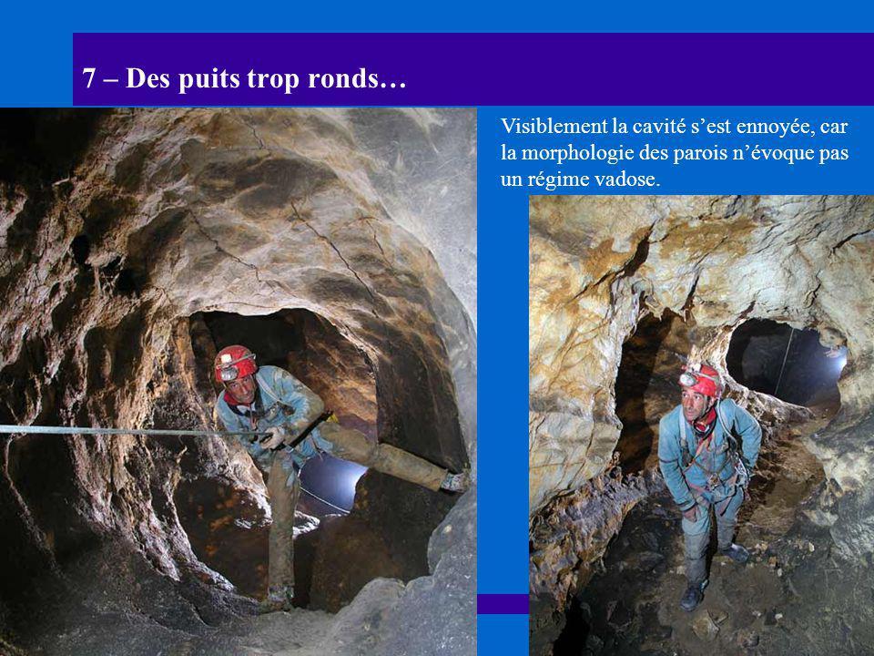 7 – Des puits trop ronds… Visiblement la cavité s'est ennoyée, car la morphologie des parois n'évoque pas un régime vadose.