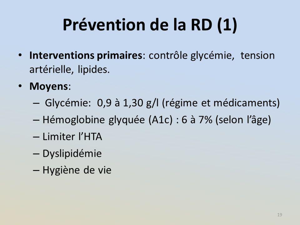 Prévention de la RD (1) Interventions primaires: contrôle glycémie, tension artérielle, lipides. Moyens: