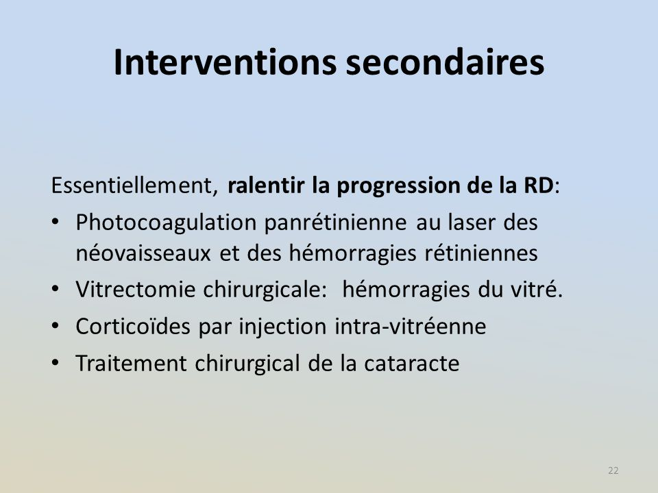 Interventions secondaires