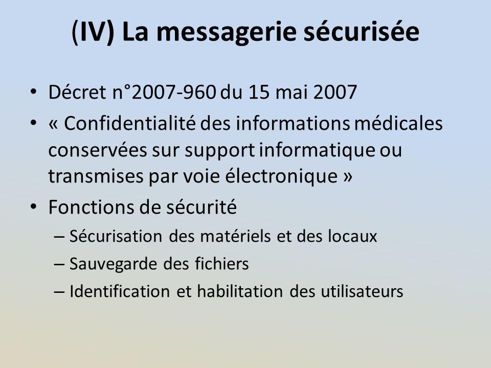(IV) La messagerie sécurisée