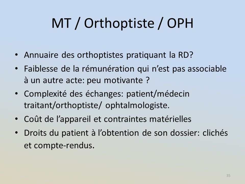 MT / Orthoptiste / OPH Annuaire des orthoptistes pratiquant la RD