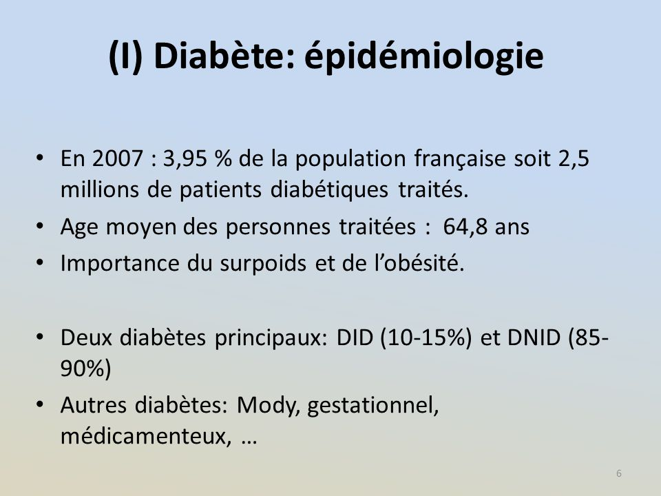 (I) Diabète: épidémiologie