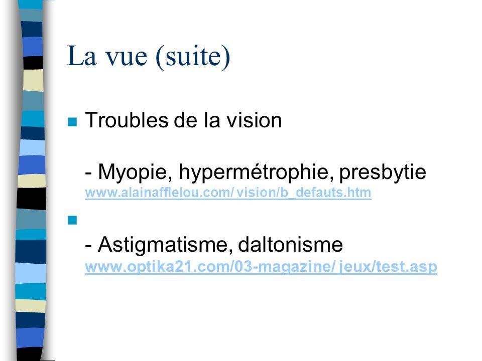 La vue (suite) Troubles de la vision - Myopie, hypermétrophie, presbytie www.alainafflelou.com/ vision/b_defauts.htm.
