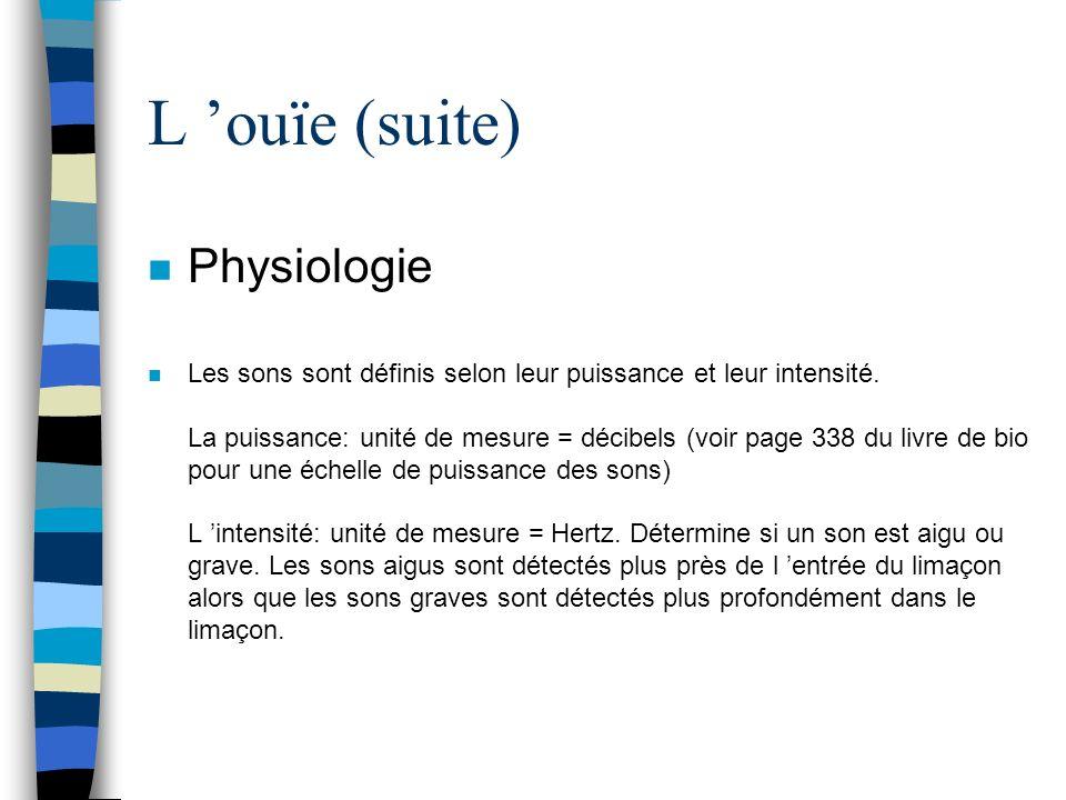 L 'ouïe (suite) Physiologie