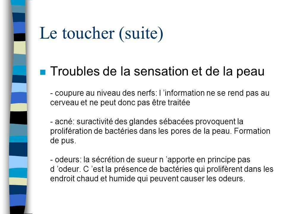 Le toucher (suite)
