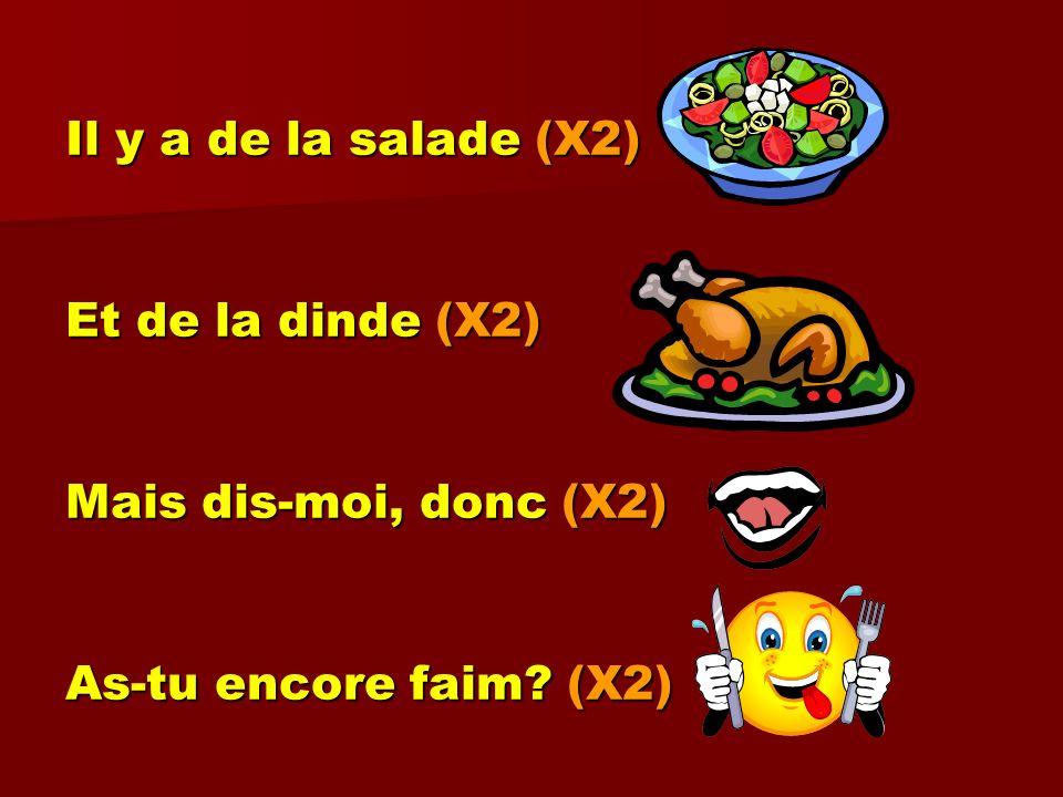 Il y a de la salade (X2) Et de la dinde (X2) Mais dis-moi, donc (X2) As-tu encore faim (X2)