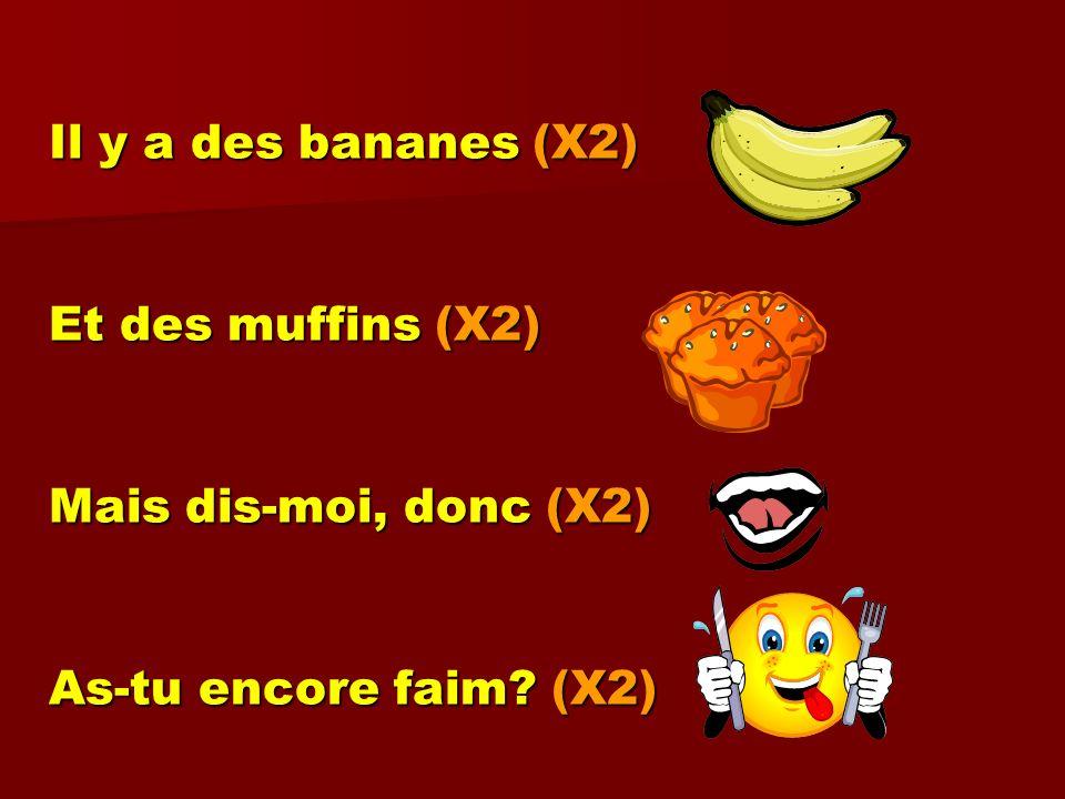 Il y a des bananes (X2) Et des muffins (X2) Mais dis-moi, donc (X2) As-tu encore faim (X2)