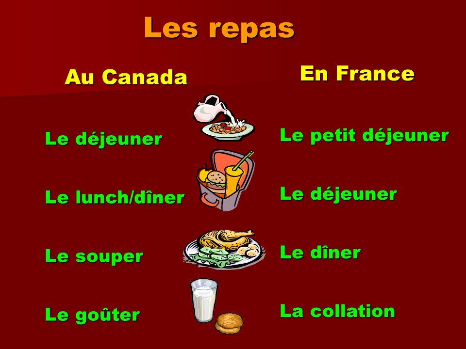 Les repas En France Au Canada Le petit déjeuner Le déjeuner