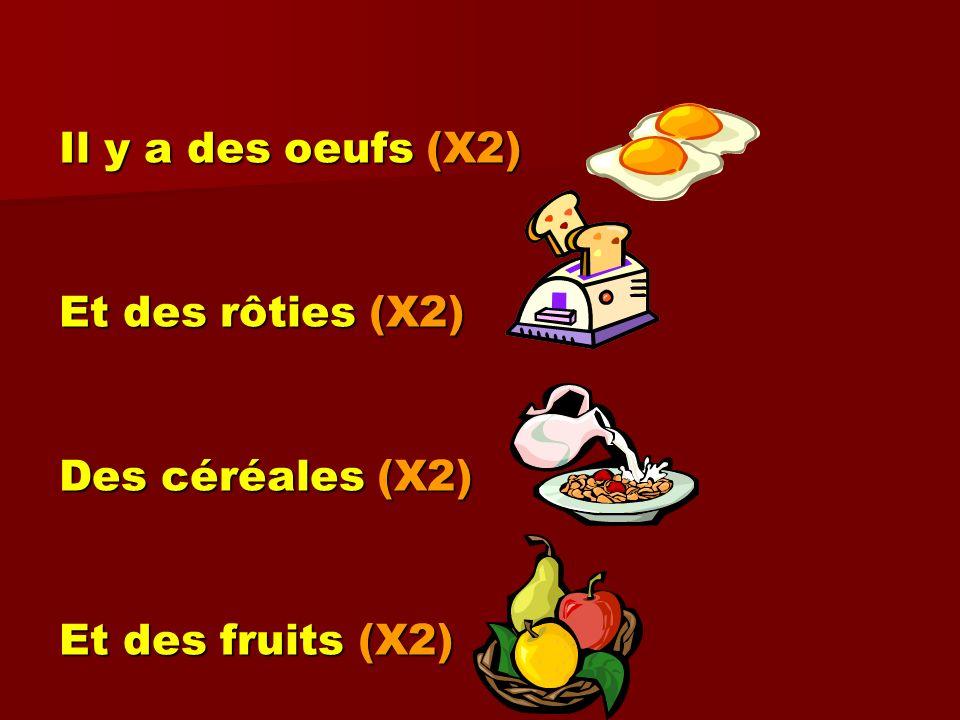 Il y a des oeufs (X2) Et des rôties (X2) Des céréales (X2) Et des fruits (X2)