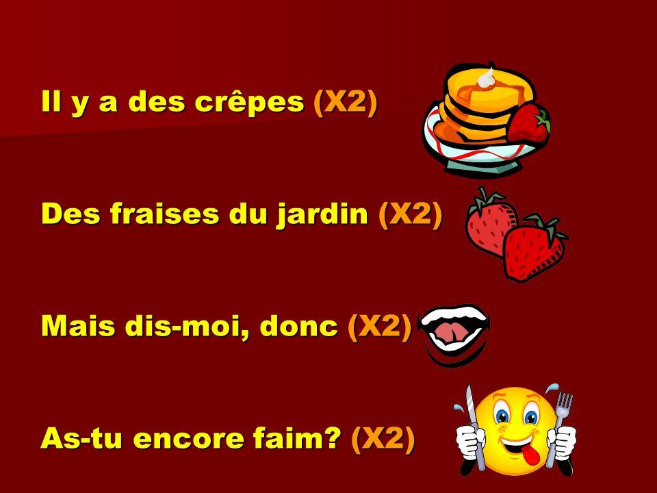 Il y a des crêpes (X2) Des fraises du jardin (X2) Mais dis-moi, donc (X2) As-tu encore faim (X2)
