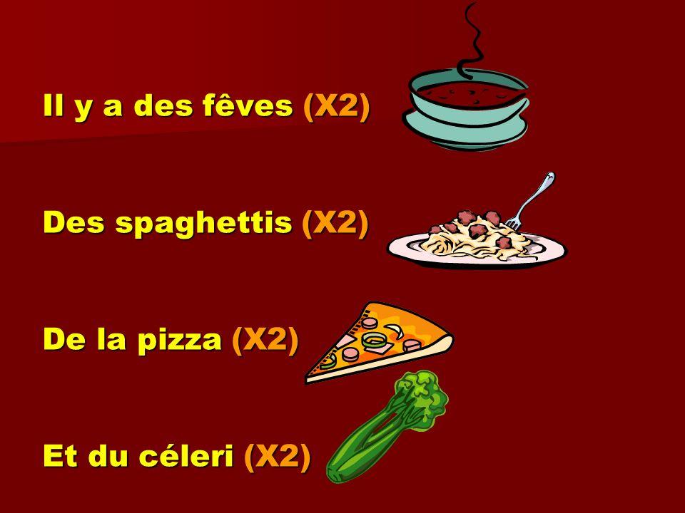 Il y a des fêves (X2) Des spaghettis (X2) De la pizza (X2) Et du céleri (X2)