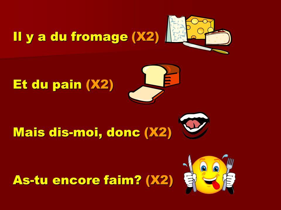 Il y a du fromage (X2) Et du pain (X2) Mais dis-moi, donc (X2) As-tu encore faim (X2)