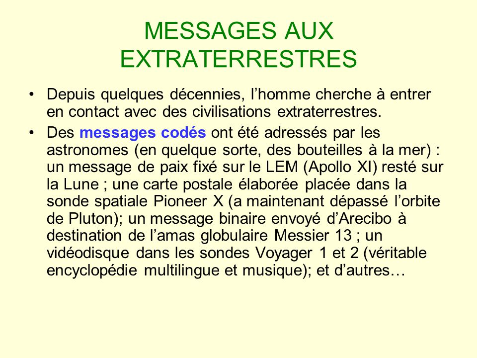 MESSAGES AUX EXTRATERRESTRES
