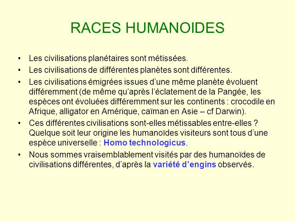 RACES HUMANOIDES Les civilisations planétaires sont métissées.