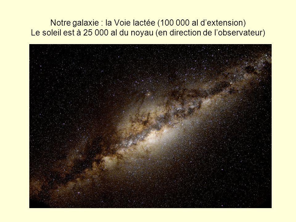 Notre galaxie : la Voie lactée (100 000 al d'extension) Le soleil est à 25 000 al du noyau (en direction de l'observateur)