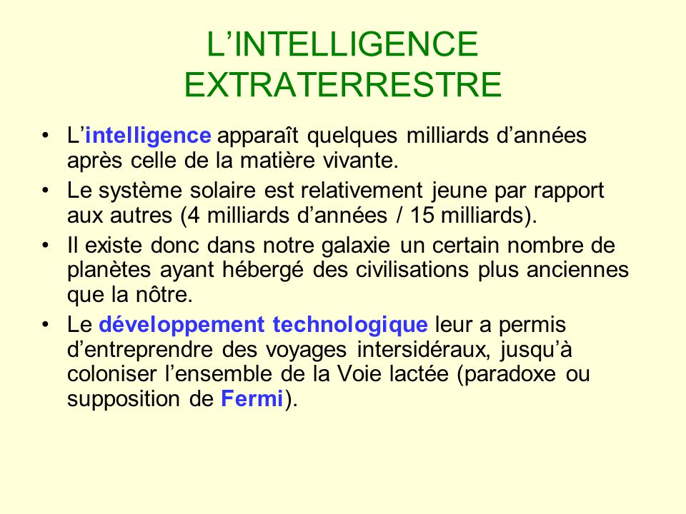L'INTELLIGENCE EXTRATERRESTRE