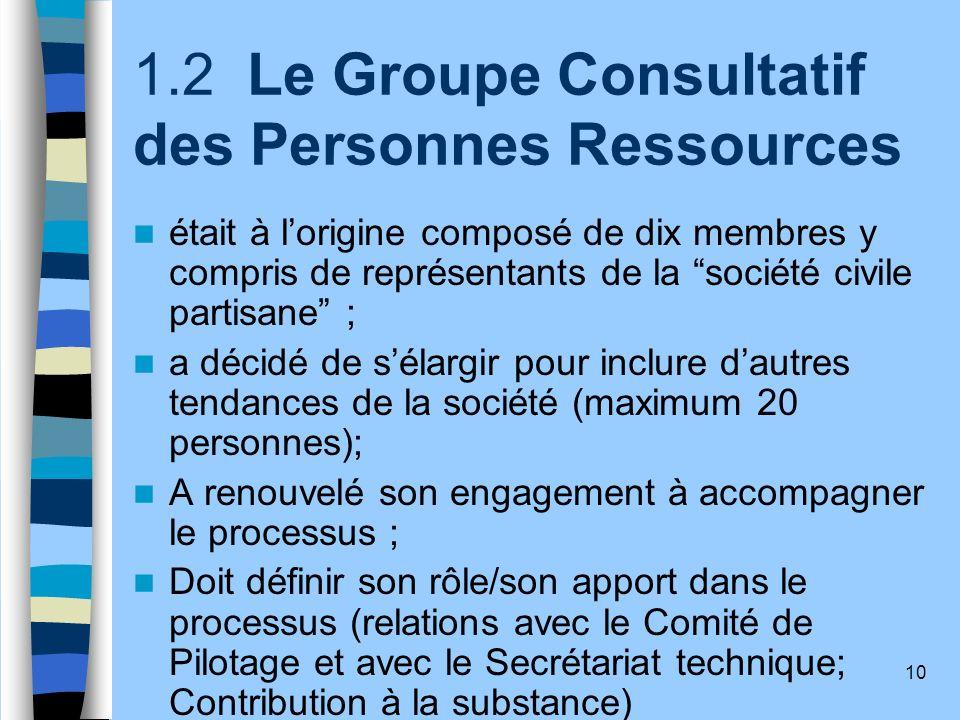 1.2 Le Groupe Consultatif des Personnes Ressources