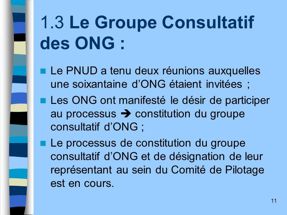 1.3 Le Groupe Consultatif des ONG :