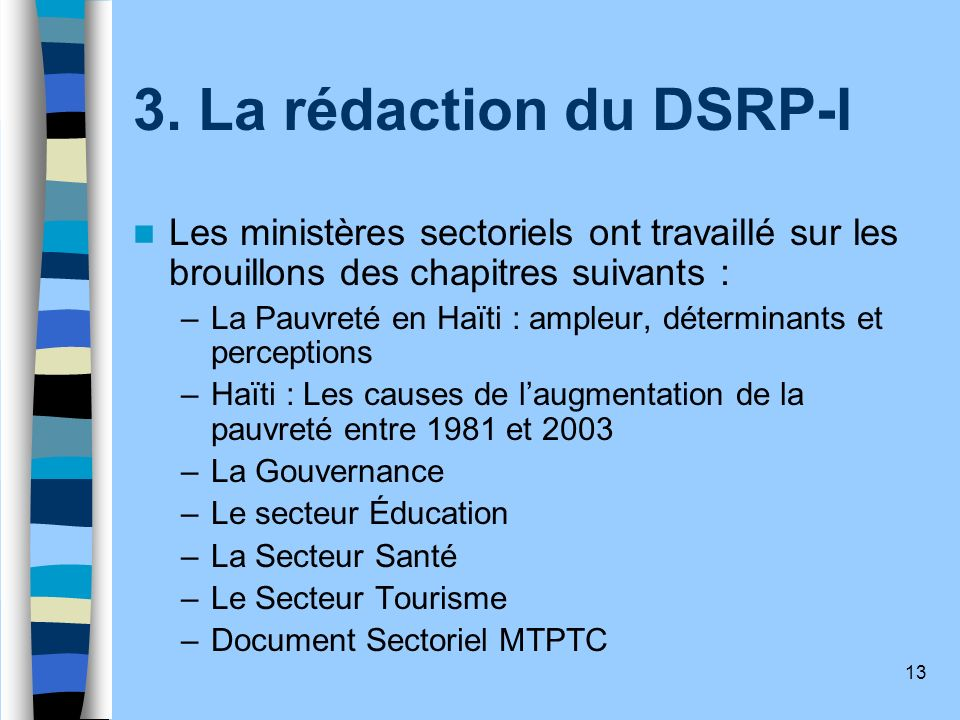 3. La rédaction du DSRP-I Les ministères sectoriels ont travaillé sur les brouillons des chapitres suivants :