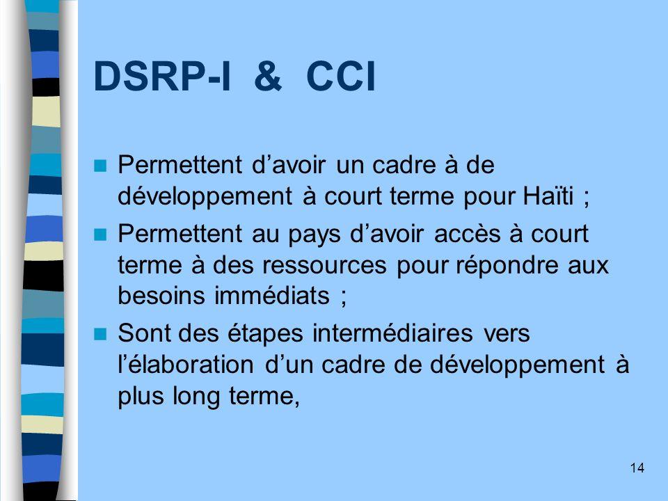 DSRP-I & CCI Permettent d'avoir un cadre à de développement à court terme pour Haïti ;