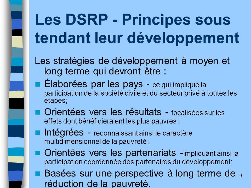 Les DSRP - Principes sous tendant leur développement