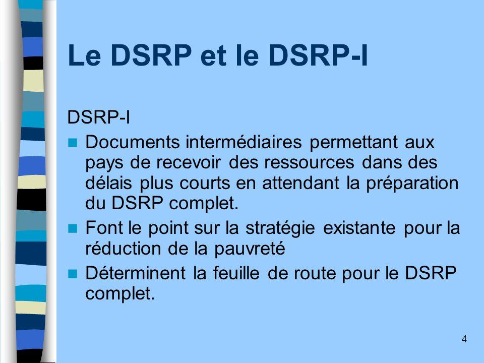 Le DSRP et le DSRP-I DSRP-I