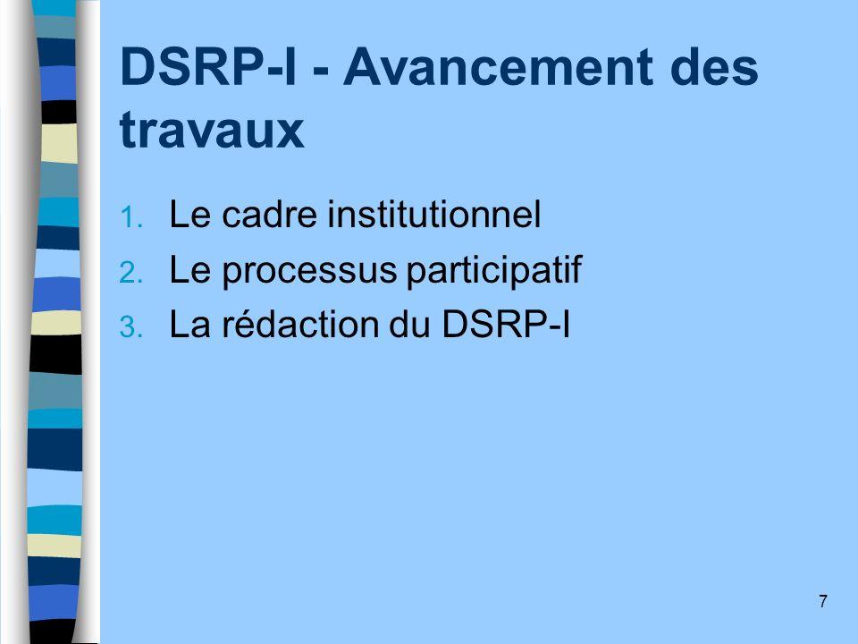 DSRP-I - Avancement des travaux