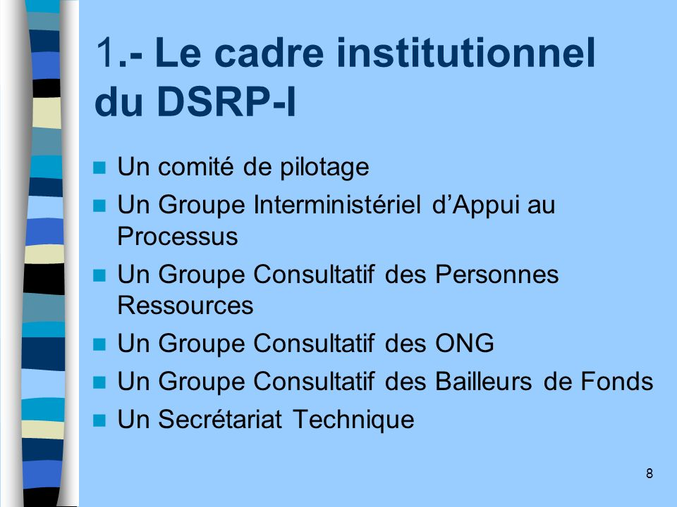 1.- Le cadre institutionnel du DSRP-I
