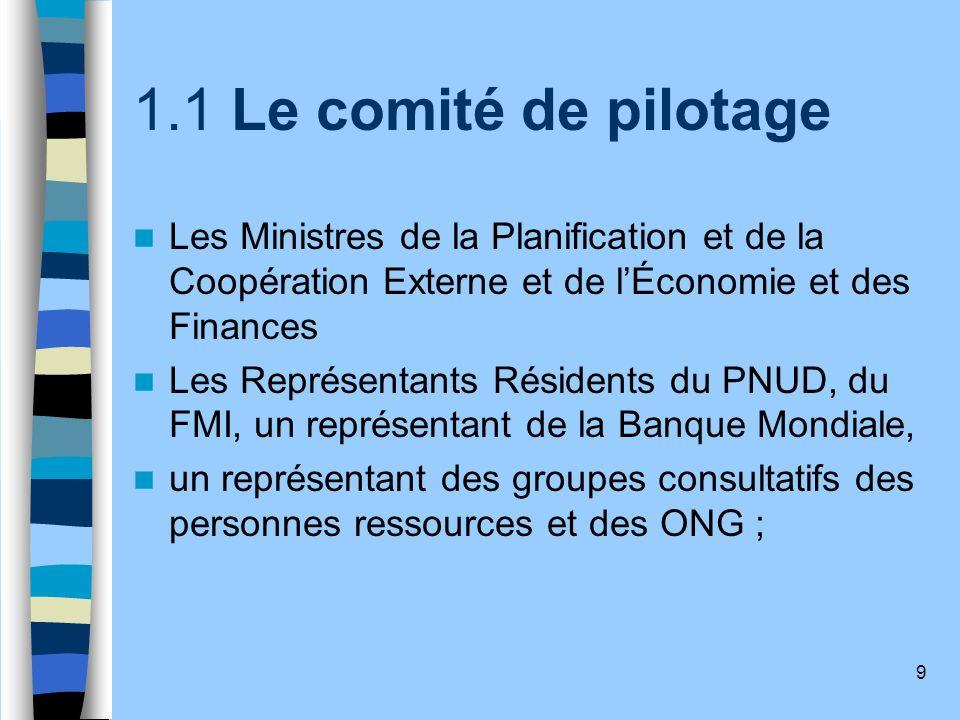 1.1 Le comité de pilotage Les Ministres de la Planification et de la Coopération Externe et de l'Économie et des Finances.