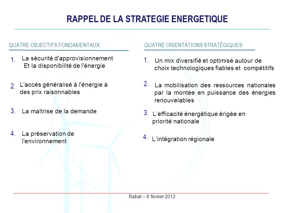 RAPPEL DE LA STRATEGIE ENERGETIQUE