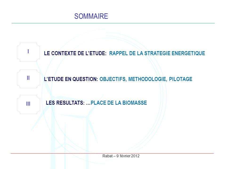 SOMMAIRE I LE CONTEXTE DE L'ETUDE: RAPPEL DE LA STRATEGIE ENERGETIQUE
