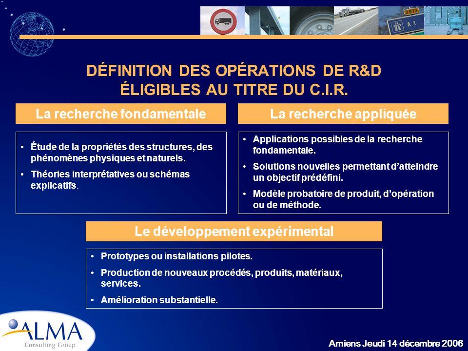 DÉFINITION DES OPÉRATIONS DE R&D ÉLIGIBLES AU TITRE DU C.I.R.