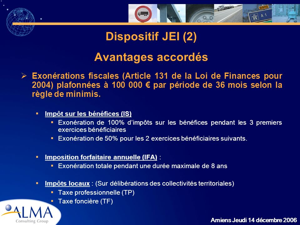 Dispositif JEI (2) Avantages accordés
