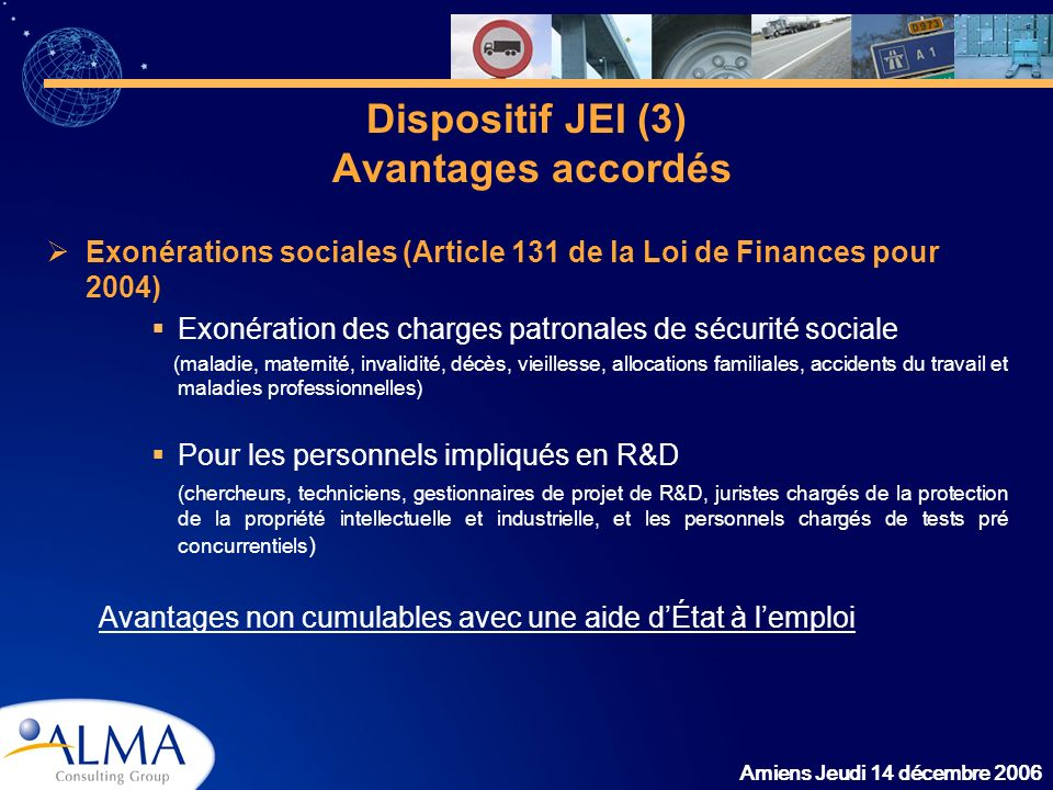 Dispositif JEI (3) Avantages accordés