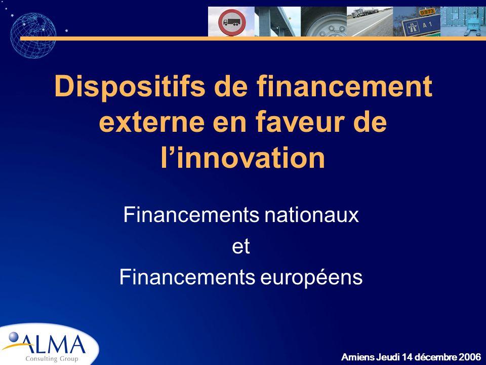 Dispositifs de financement externe en faveur de l'innovation